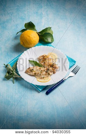 fish fillet with lemon and sage