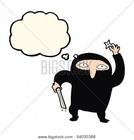 cartoon ninja with thought bubble