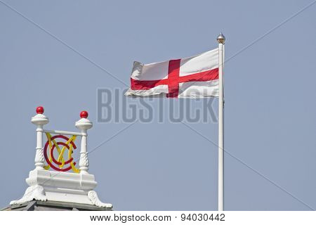 LONDON, ENGLAND - July 18 2013: The flag of St George on day one of the Investec Ashes 2nd test match, at Lords Cricket Ground on July 18, 2013 in London, England.