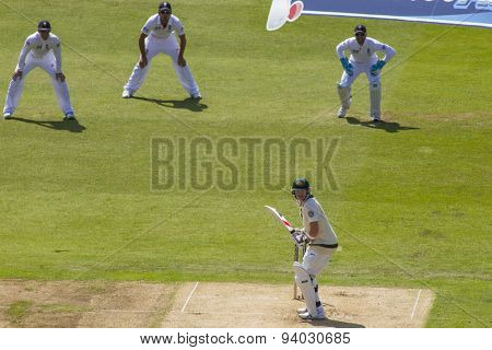 NOTTINGHAM, ENGLAND - July 11, 2013: Steven Smith batting during day two of the first Investec Ashes Test match at Trent Bridge Cricket Ground on July 11, 2013 in Nottingham, England.