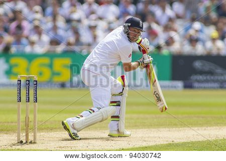 NOTTINGHAM, ENGLAND - July 12, 2013: England's Ian Bell plays a shot during day three of the first Investec Ashes Test match at Trent Bridge Cricket Ground on July 12, 2013 in Nottingham, England.