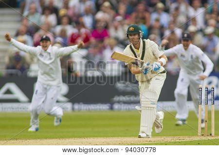 NOTTINGHAM, ENGLAND - July 10, 2013: Australia's Michael Clarke is bowled out by James Anderson (not pictured) during day one of the first Investec Ashes Test match at Trent Bridge Cricket Ground