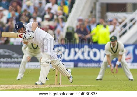 NOTTINGHAM, ENGLAND - July 10, 2013: England's Jonny Bairstow is bowled out by Mitchell Starc (not pictured) during day one of the first Investec Ashes Test match at Trent Bridge Cricket Ground