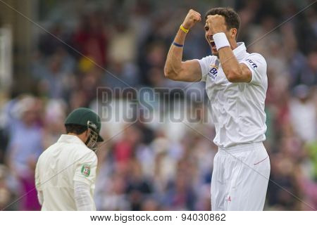 NOTTINGHAM, ENGLAND - July 10, 2013: England's Steven Finn celebrates taking the wicket of Ed Cowan during day one of the first Investec Ashes Test match at Trent Bridge Cricket Ground