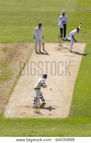 NOTTINGHAM, ENGLAND - July 11, 2013: Steven Finn bowling to Steven Smith during day two of the first Investec Ashes Test match at Trent Bridge Cricket Ground on July 11, 2013 in Nottingham, England.