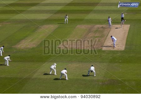 NOTTINGHAM, ENGLAND - July 11, 2013: A general view of play during day two of the first Investec Ashes Test match at Trent Bridge Cricket Ground on July 11, 2013 in Nottingham, England.