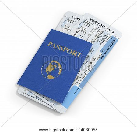 Travel Documents On White Background. Passport And Airline Ticket.