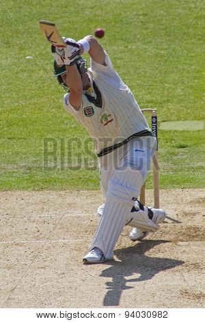 NOTTINGHAM, ENGLAND - July 11, 2013: Australia's Steven Smith hits the ball and is caught out  by England's Matt Prior during day two of the first Ashes Test match at Trent Bridge Cricket Ground