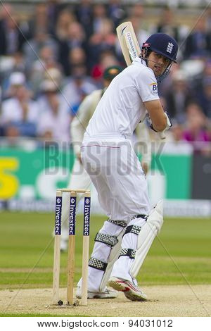NOTTINGHAM, ENGLAND - July 10, 2013: England's captain Alastair Cook during day one of the first Investec Ashes Test match at Trent Bridge Cricket Ground on July 10, 2013 in Nottingham, England.