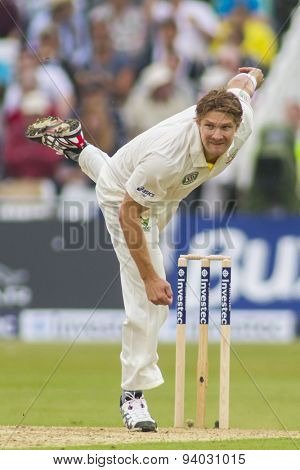 NOTTINGHAM, ENGLAND - July 10, 2013: Australia's Shane Watson bowling during day one of the first Investec Ashes Test match at Trent Bridge Cricket Ground on July 10, 2013 in Nottingham, England.