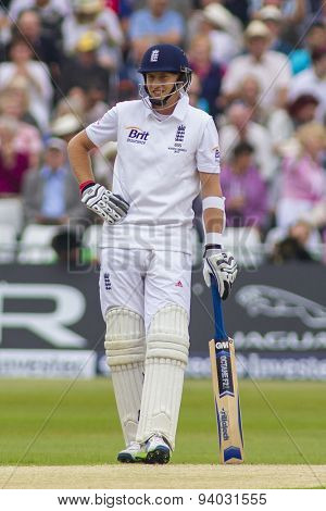 NOTTINGHAM, ENGLAND - July 10, 2013, 2013: England's Joe Root during day one of the first Investec Ashes Test match at Trent Bridge Cricket Ground on July 10, 2013 in Nottingham, England.