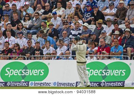 NOTTINGHAM, ENGLAND - July 10, 2013: Australia's 12th man David Warner claps fans after they sing a song to him during day one of the first Investec Ashes Test match at Trent Bridge Cricket Ground