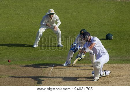NOTTINGHAM, ENGLAND - July 11, 2013: Kevin Pietersen batting during day two of the first Investec Ashes Test match at Trent Bridge Cricket Ground on July 11, 2013 in Nottingham, England.
