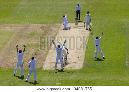 NOTTINGHAM, ENGLAND - July 11, 2013: Graeme Swann appeals for the wicket  of Steven Smith during day two of the first Investec Ashes Test match at Trent Bridge Cricket Ground