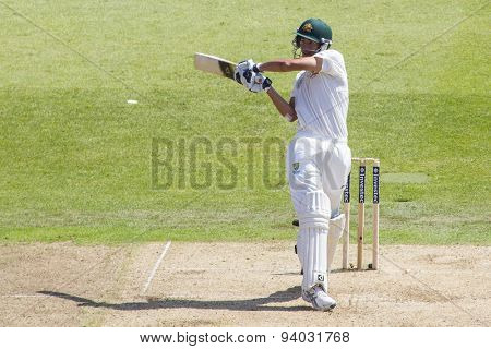 NOTTINGHAM, ENGLAND - July 11, 2013: Australia's Ashton Agar hits the ball and is caught out during day two of the first Investec Ashes Test match at Trent Bridge Cricket Ground on July 11, 2013