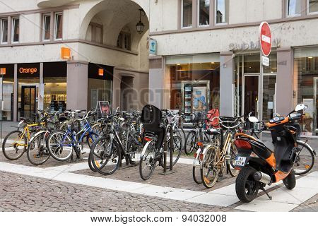 A Parking Of Bicycles In Strasbourg City