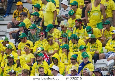 NOTTINGHAM, ENGLAND - July 10, 2013: Members of The Fanatics the Australian travelling supporters club watch on during day one of the first Investec Ashes Test match at Trent Bridge Cricket Ground