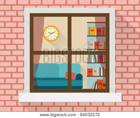 Living room through the window.