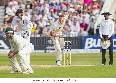 NOTTINGHAM, ENGLAND - July 12, 2013: Ed Cowan Stuart Broad Peter Siddle and Kumar Dharmasena during day three of the first Investec Ashes Test match at Trent Bridge Cricket Ground