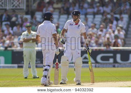 NOTTINGHAM, ENGLAND - July 12, 2013: England's Alastair Cook and Kevin Pietersen during day three of the first Investec Ashes Test match at Trent Bridge Cricket Ground on July 12, 2013