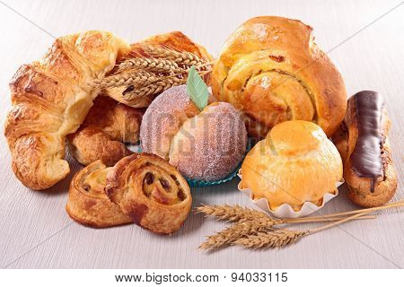 assorted pastry and croissant