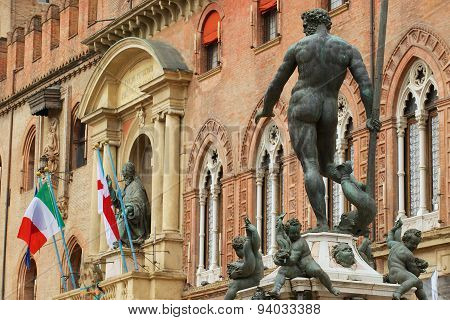 View to the Neptune fountain in Bologna, Italy.