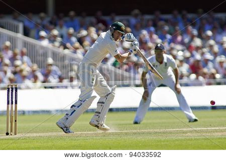 LONDON, ENGLAND - July 19 2013: Michael Clarke plays a shot during day two of the Investec Ashes 2nd test match, at Lords Cricket Ground on July 19, 2013 in London, England.