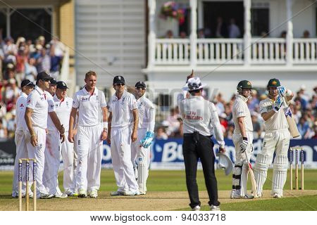 NOTTINGHAM, ENGLAND - July 13, 2013: Stuart Broad celebrates taking the wicket of Michael Clarke who calls for a review as umpire Kumar Dharmasena signals out during day four of the  Ashes Test match