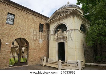 Exterior of the Dante's Tomb in Ravenna, Italy.