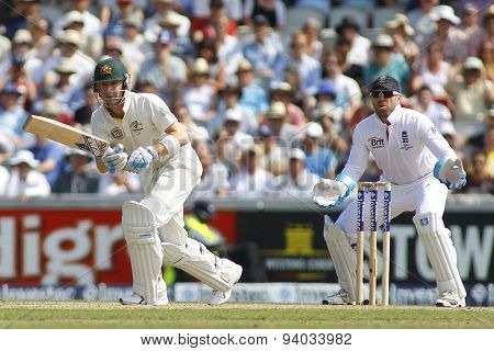 MANCHESTER, ENGLAND - August 01 2013: Michael Clarke and Matt Prior during day one of  the Investec Ashes 3rd test match at Old Trafford Cricket Ground, on August 01, 2013 in London, England.