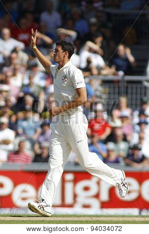 MANCHESTER, ENGLAND - August 02 2013: Mitchell Starc during day two of  the Investec Ashes 3rd test match at Old Trafford Cricket Ground, on August 02, 2013 in London, England.