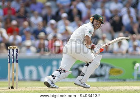 MANCHESTER, ENGLAND - August 02 2013: David Warner batting during day one of  the Investec Ashes 3rd test match at Old Trafford Cricket Ground, on August 02, 2013 in London, England.