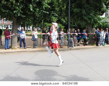 Leading Majorette In The Marching Parade Contest During National Championship Of Czech Republic