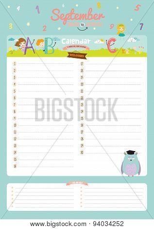 Cute calendar diary 2016 with seasonal themes