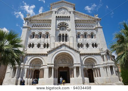 Exterior of the Monaco Cathedral (Cathedrale de Monaco) in Monaco-Ville Monaco.