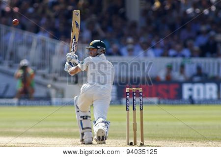 LONDON, ENGLAND - July 21 2013: Michael Clarke plays a shot during day four of the Investec Ashes 2nd test match, at Lords Cricket Ground on July 21, 2013 in London, England.