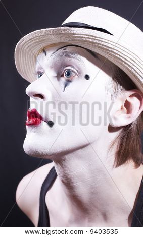 Portrait Of Pantomime Actor With Makeup