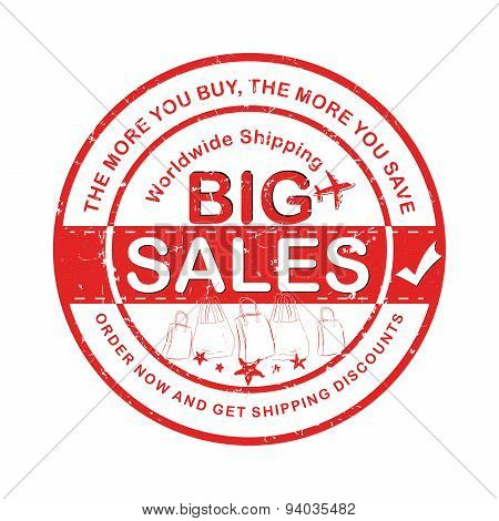 Red Big Sales advertising Label / Sticker for print.