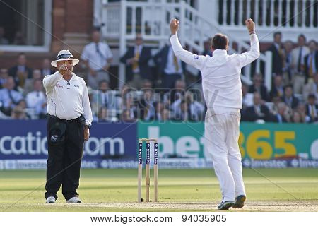 LONDON, ENGLAND - July 21 2013: Graeme Swann appeals for the wicket of James Pattinson and umpire Marais Erasmus signals OUT during day four of the Ashes 2nd test match, at Lords Cricket Ground