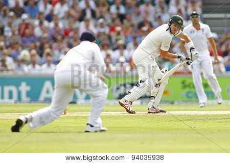MANCHESTER, ENGLAND - August 01 2013: Shane Watson batting during day one of  the Investec Ashes 3rd test match at Old Trafford Cricket Ground, on August 01, 2013 in London, England.