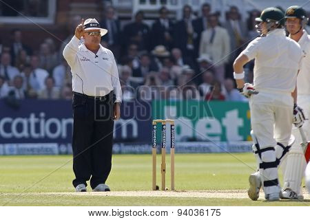 LONDON, ENGLAND - July 21 2013: Umpire Marais Erasmus signals out for Steven Smith during day four of the Investec Ashes 2nd test match, at Lords Cricket Ground on July 21, 2013 in London, England.