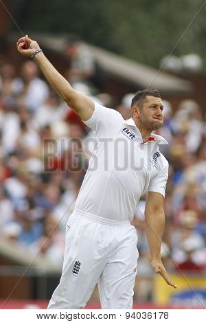MANCHESTER, ENGLAND - August 01 2013: Tim Bresnan during day one of  the Investec Ashes 3rd test match at Old Trafford Cricket Ground, on August 01, 2013 in London, England.