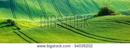 European rural wallpaper - panorama of Moravian rolling landscape, Moravia, Czech Republic