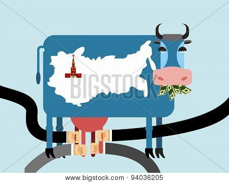 Cow eats money, dollars. Map of Russia Moscow Kremlin on  skin of cow. Hand Milking a cow for udder.