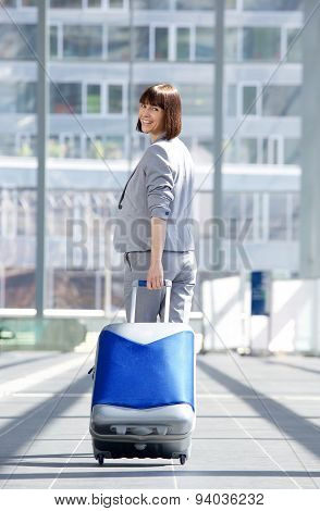 Happy Traveling Business Woman