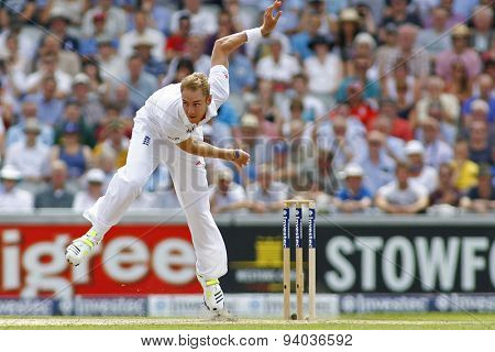 MANCHESTER, ENGLAND - August 01 2013: Stuart Broad bowling during day one of  the Investec Ashes 3rd test match at Old Trafford Cricket Ground, on August 01, 2013 in London, England.