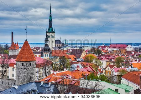 Aerial view of Tallinn Medieval Old Town with St. Olaf's Church and Tallinn City Wall. Tallinn, Estonia
