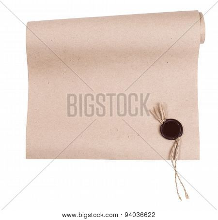 Blank Paper Roll With Wax Seal - Stock Image