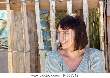 Charming Older Woman Smiling Outside