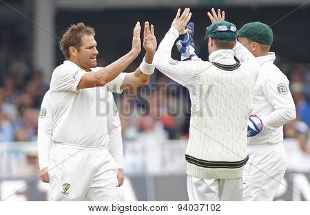 LONDON, ENGLAND - July 21 2013: Ryan Harris, Mi] and Brad Haddin celebrate the wicket of Jonny Bairstow during day four of the Investec Ashes 2nd test match, at Lords Cricket Ground